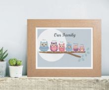 Owl Family Fingerprint Tree - Personalised Keepsake